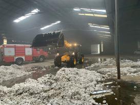 Foça Gerenköy'de Pamuk deposu yandı