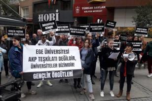 Erdoğan'ın gelişi öncesi 6 Ege öğrencisinin gözaltına alınması protesto edildi