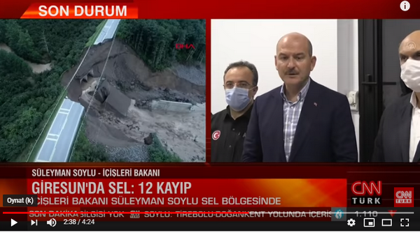 Giresun'da sel felaketinde 12 kişi kayıp. Bakan Süleyman Soylu Bölgede İncelemelerde bulundu