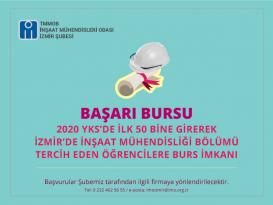 İnşaat Mühendisleri Odası İzmir Şubesi Öğrencileri Burs Desteği Sağlayacak