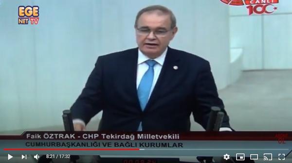 CHP'li Faik Öztrak Sarayın Saltanat Bütçesini kabul etmiyoruz dedi