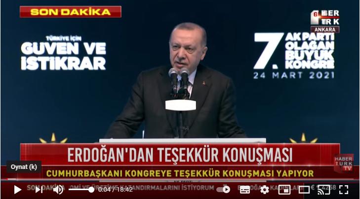 Cumhurbaşkanı Erdoğan Kongre'de konuşma yapıyor